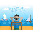 a man is resting on the sea vector image