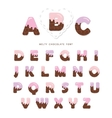 Alphabet with pink cream melted on chocolate vector image