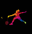 badminton female player action graphic vector image vector image