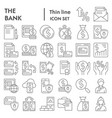 bank thin line icon set finance symbols vector image