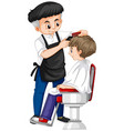 barber giving boy haircut vector image vector image