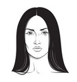 beautiful brunette woman portrait line art vector image vector image