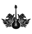 black and white banner with guitar and wings vector image vector image