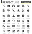 black classic shopping e-commerce web icons set vector image