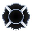 blank fire rescue logo black base chrome trim vector image vector image
