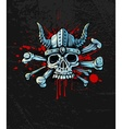 bloody skull in helmet vector image vector image