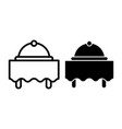 breakfast in hotel line and glyph icon dish on vector image