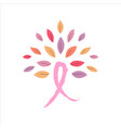 breast cancer awareness pink ribbon tree concept vector image