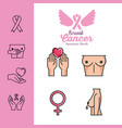 breast cancer set icons vector image vector image