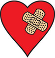 broken heart and adhesive bandage vector image vector image