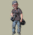 Cartoon joyful male photographer with camera