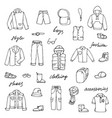 childish boy clothes shoes and lettering doodle vector image vector image