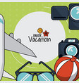 colorful poster of enjoy vacation with plane and vector image