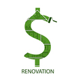 concept symbol dollar with house renovation vector image vector image