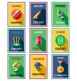 Cricket Color Labels Poster Set vector image