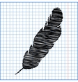 feather icon with pen effect on paper vector image