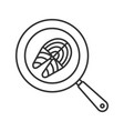 fish steak frying on kitchen pan linear icon vector image