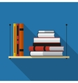 Flat bookshelf with long shadow icon vector image vector image