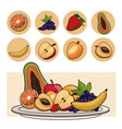 Fruits nutrition salad plate icons