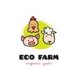Funny cartoon style eco farm logo with pig