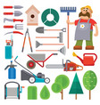 Garden equipment flat set and gardener vector image