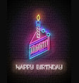 glow greeting card with piece cake candle vector image