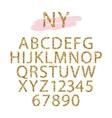 Golden confetti glittering Alphabet vector image