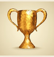 golden trophy with triangles cup winner first vector image