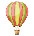 green and pink vintage hot air balloon on white vector image