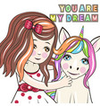 greeting card with cartoon girl and unicorn vector image