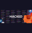 hacked the internet computer security network vector image vector image
