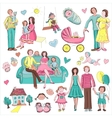 hand drawn collection family vector image