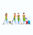 janitors team cleaning service concept male female vector image vector image