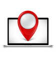 laptop with map pointer on screen vector image vector image
