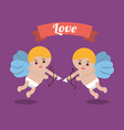 love couple cupid bow arrow banner design vector image vector image