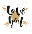 love you with heart and arrows modern ink brush vector image vector image