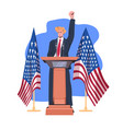 male politician making speech from tribune vector image