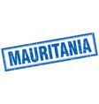 mauritania blue square grunge stamp on white vector image vector image