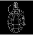 military hand grenade black outline icon vector image