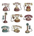 Old vintage retro phones sketch icons vector image vector image
