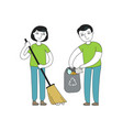 people or volunteers collect garbage protection vector image vector image