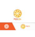 pizza logo combination food symbol or icon vector image vector image