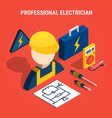 red electricity isometric composition vector image vector image