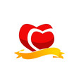ribbon heart logo design template vector image vector image