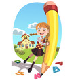 school girl with pencil vector image