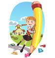 school girl with pencil vector image vector image