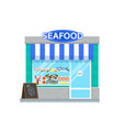 seafood shop in flat style vector image vector image