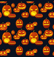 seamless pattern pumpkin lantern silhouette vector image vector image