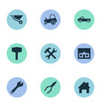 set of simple build icons vector image vector image