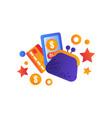 shopping symbols retro money purse smartphone vector image vector image